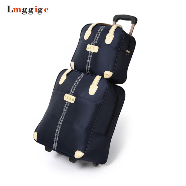 - Waterproof Luggage Bag Set, Oxford Cloth Rolling Travel Suitcase, Large Capacity,Trolley Carry-Ons Dragboxes Handbag With Wheels - guiro - Zeinab Fashion