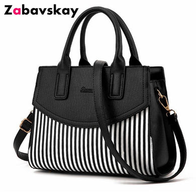 ,New Brand Design Fashion Women Handbag Black And White Stripe Tote Bag Female Shoulder Bags High Quality PU Leather Purse DJZ305,guiro,Zeinab Fashion.