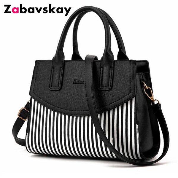 - New Brand Design Fashion Women Handbag Black And White Stripe Tote Bag Female Shoulder Bags High Quality PU Leather Purse DJZ305 - guiro - Zeinab Fashion