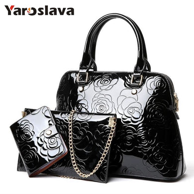 ,High Quality Patent Leather Women Handbags Luxury Floral 3 Sets Ladies Composite Bag Fashion Shell Bags For Women Shoulder LL106,guiro,Zeinab Fashion.