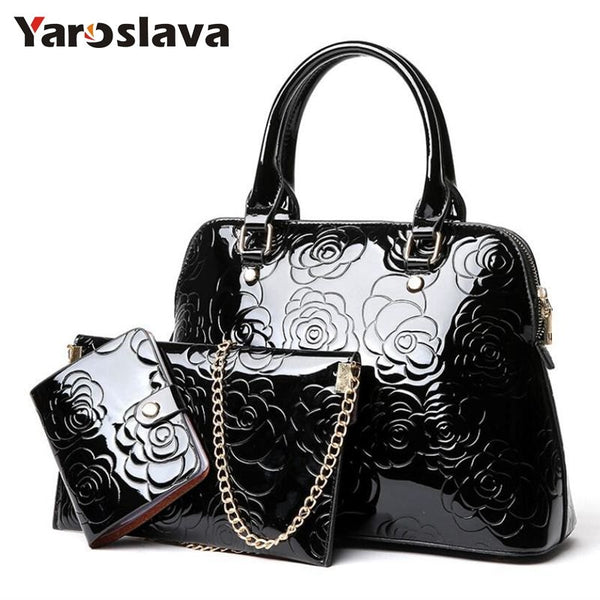 - High Quality Patent Leather Women Handbags Luxury Floral 3 Sets Ladies Composite Bag Fashion Shell Bags For Women Shoulder LL106 - guiro - Zeinab Fashion