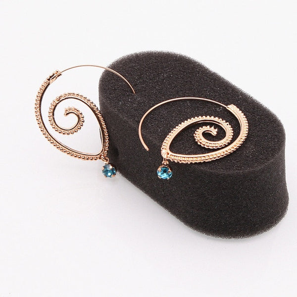 - E0448 Bohemian Style Swirl Hoop Earring For Women Gold Color Big Circle Earring Vintage Crystal Party Accessories Ethnic Jewelry - guiro - Guiro