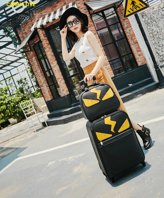 ,CARRYLOVE Cartoon Little monsters 16/20/24 inch High quality PU handbag+ Rolling Luggage Spinner brand Travel Suitcase,guiro,Zeinab Fashion.