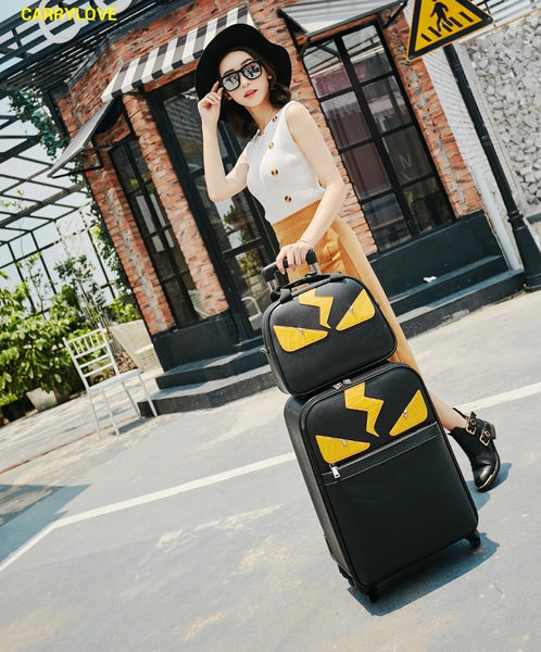 - CARRYLOVE Cartoon Little monsters 16/20/24 inch High quality PU handbag+ Rolling Luggage Spinner brand Travel Suitcase - guiro - Zeinab Fashion