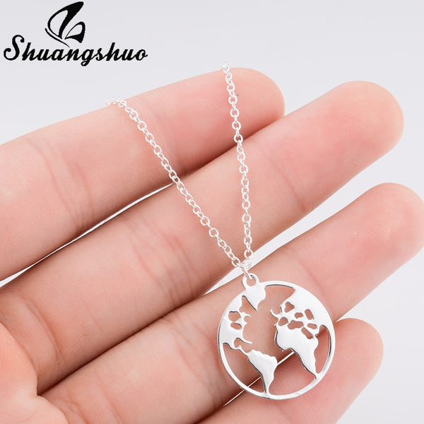 Jewelry - Vintage Origami World Map Necklace Women Geometric Necklace Round Necklace Circle Necklaces & Pendants Choker Jewelry - guiro - Zeinab Fashion