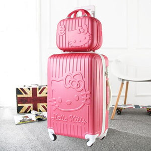 - Hello Kitty One Set ABS PC Luxury Women Rolling Luggage Suitcase Designer 20 Inches High Quality 4 Wheels Spinner Airport Bag - guiro - Zeinab Fashion