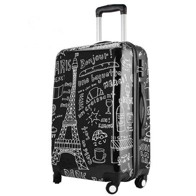 ,Couples graffiti board chassis 20-inch trolley Caster women suitcase wheels rolling Luggage travel luggage case valise bagages,guiro,Zeinab Fashion.