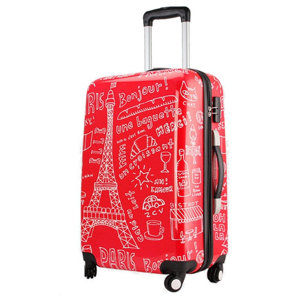 - Couples graffiti board chassis 20-inch trolley Caster women suitcase wheels rolling Luggage travel luggage case valise bagages - guiro - Zeinab Fashion