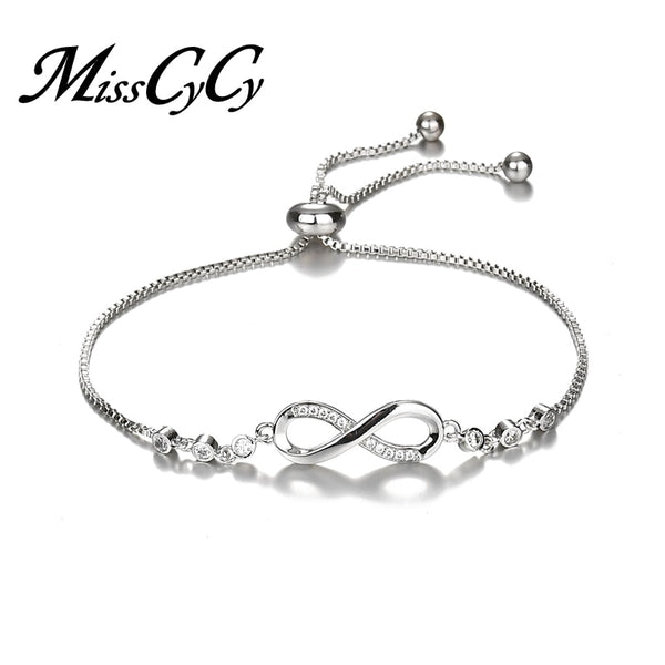- MissCyCy Luxurious Crystal Bracelet Silver Color Adjustable Infinity Charm Bracelets for Women Fashion Jewelry 2018 New - guiro - Guiro