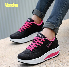 - Akexiya Fashion Women Height Increasing Summer Breathable Waterproof Wedges Sneakers Platform Shoes Woman Pu Leather Casual Shoe - guiro - Zeinab Fashion