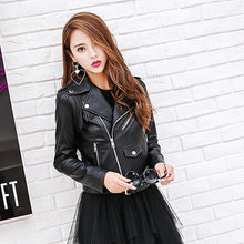 Load image into Gallery viewer, ,Spring Fringed Black Leather Jacket Lady Long Sleeve Big Lapel Faux Leather PU Tassel Coats Winter Jackets For Girls,guiro,Zeinab Fashion.