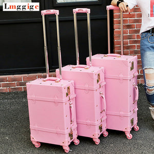 ,Vintage Travel Rolling Luggage Suitcase Bag ,PU Leather Box with Cosmetic bag ,Women Carrier,high qualit Carry-On Trolley Case,guiro,Zeinab Fashion.