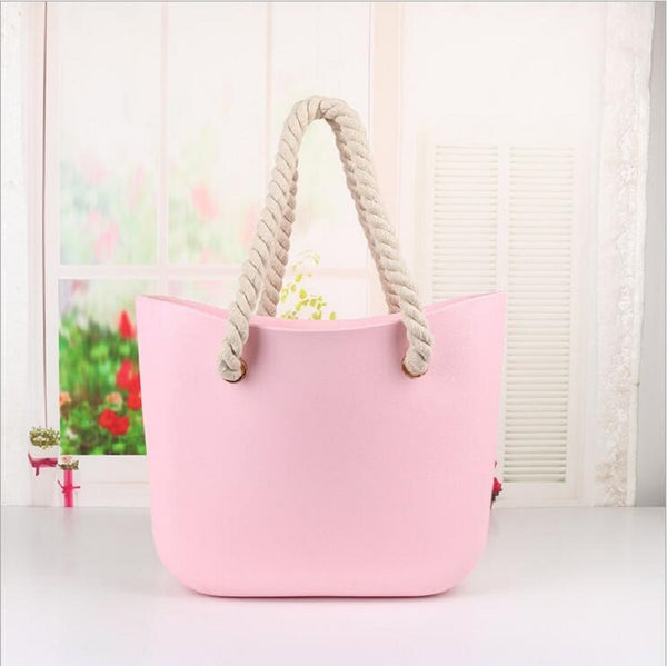 - Leash beach obag Handbag Handles Women classic trim bao mini fashion silicone shoulder shopping top waterproof evening O bag - guiro - Guiro