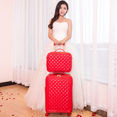 ,Trolley luggage picture box travel bag universal wheels married the box bride suitcase red luggage 14 20 24inches red pu bags,guiro,Zeinab Fashion.