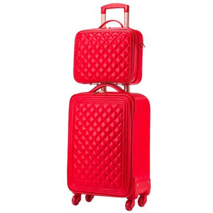 - Trolley luggage picture box travel bag universal wheels married the box bride suitcase red luggage 14 20 24inches red pu bags - guiro - Zeinab Fashion
