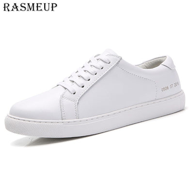 ,RASMEUP Genuine Leather Women's Flat Shoe Women Soft Breathable Sneakers Black White Lace Up Woman Casual Flats Female Footwear,guiro,Zeinab Fashion.
