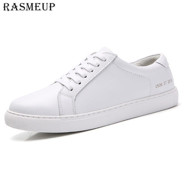 - RASMEUP Genuine Leather Women's Flat Shoe Women Soft Breathable Sneakers Black White Lace Up Woman Casual Flats Female Footwear - guiro - Zeinab Fashion