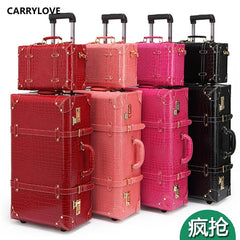 - CARRYLOVE classic Vintage luggage series 22/24 inch PU Handbag and Rolling Luggage Spinner brand Travel Suitcase - guiro - Zeinab Fashion