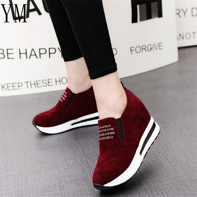 ,2018 Flock New High Heel Lady Casual black/Red Women Sneakers Leisure Platform Shoes Breathable Height Increasing Shoes,guiro,Zeinab Fashion.