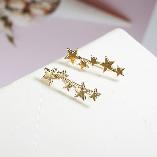 - Moon Star Ear Climber Tiny Star Moon Stud Earrings For Women Everyday Teen Mothersday Celestial Birthday Gift Jewelry Earrring - guiro - Guiro