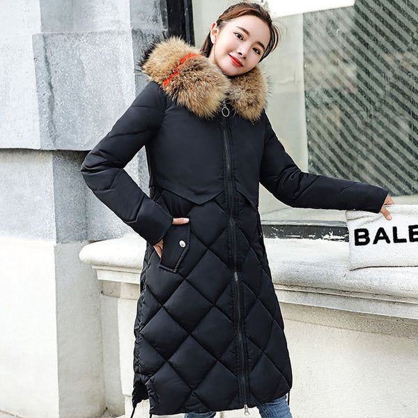 Slim Solid Winter Woman Coat Casual Long Sleeve Neck Pocket Cap With Fur Collar Long Parka Women Thick Jacket Winter Girls