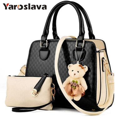 ,Fashion PU Patent Leather Women Bags Elegant Alligator Pattern Women Messenger Shoulder Bags bolsos 2 bags/set w/ Bear Toy LL655,guiro,Zeinab Fashion.