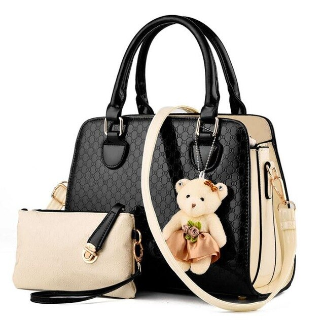 - Fashion PU Patent Leather Women Bags Elegant Alligator Pattern Women Messenger Shoulder Bags bolsos 2 bags/set w/ Bear Toy LL655 - guiro - Zeinab Fashion