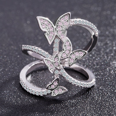 ,Butterfly Crystal Zircon Wings Ring for Women Love Jewelry Girls Trendy Wedding Bands Fashion Party Rings Jewelry US Size 6-10,guiro,Guiro.