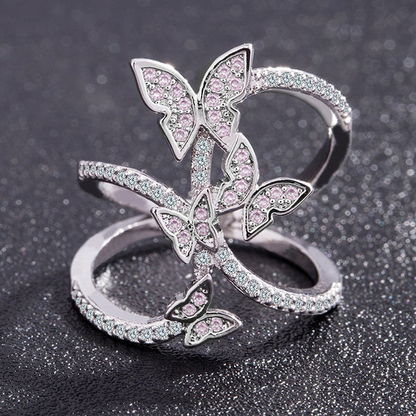 - Butterfly Crystal Zircon Wings Ring for Women Love Jewelry Girls Trendy Wedding Bands Fashion Party Rings Jewelry US Size 6-10 - guiro - Guiro