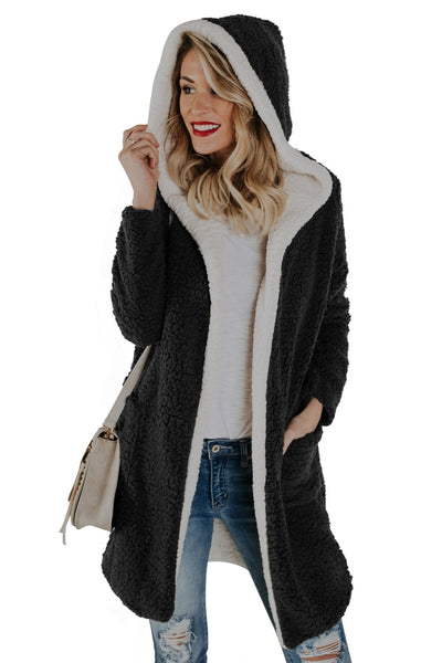 Winter Women Fur Jacket Coat With Pocket Long Reversible Coat Female Winter Outwear Fleece Faux Fur Overcoat For Girls