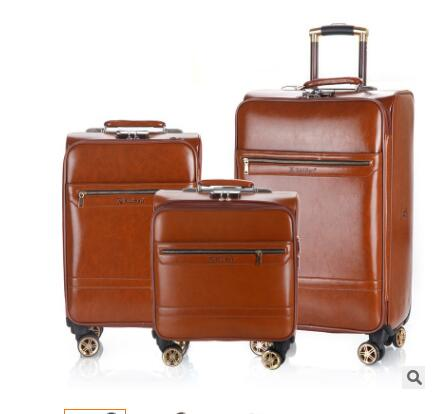- 18 Inch 20 Inch Men Spinner suitcase Luggage 24 trolley Suitcase PU Travel Rolling baggage bag On Wheels Travel Wheeled Suitcase - guiro - Zeinab Fashion
