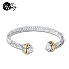 - UNY Antique Twisted Wire CZ Bracelet Fashion Trendy Women Jewelry Hardy Bangle Vintage Bracelets Valentine Christma Gift Bangles - guiro - Shop Worldly