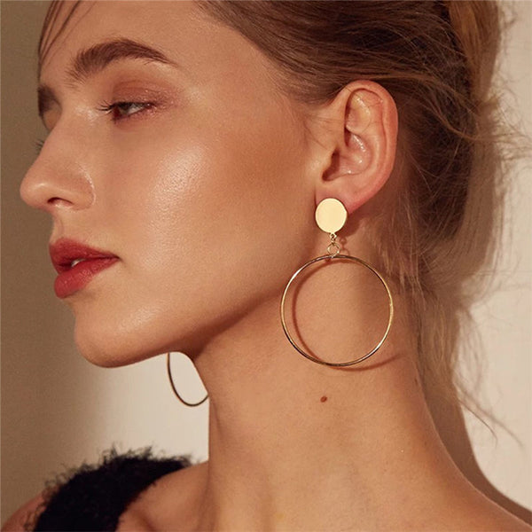 - Simple fashion gold color Silver plated geometric big round earrings for women fashion big hollow drop earrings jewelry - guiro - Guiro