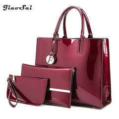 - Luxury Patent Leather Handbags 3PCS Lacquered Shoulder Crossbody Bag For Women Casual Tote  Messenger Bags Set Clutch Feminina - guiro - Guiro