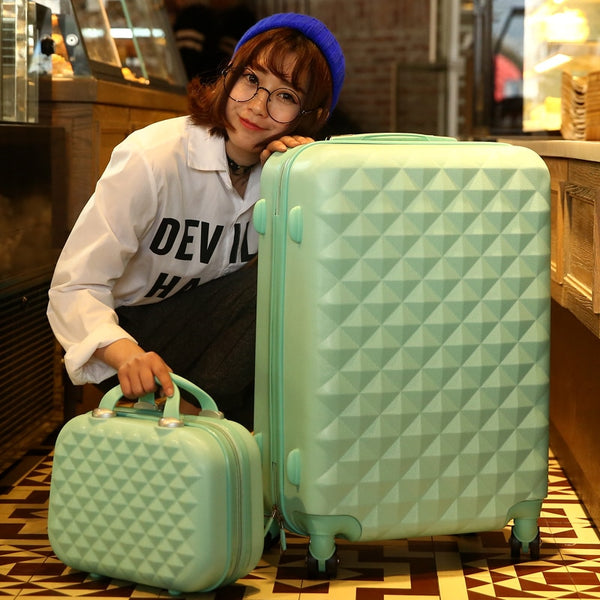 - 14+24 Inch Women Suitcase Spinner wheel Girls Suitcase Rolling luggageBoxes Travel Bag Trolley Case Hardside Diamond plaid - guiro - Zeinab Fashion