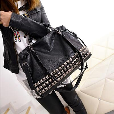 - Rivet Women's PU Leather Handbag New 2019 Fashion Silver/Black Cowhide Women Messenger Bags One Shoulder Handbag Big Bags Z474 - guiro - Guiro
