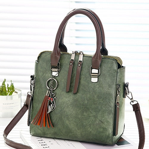 - Vintage PU Leather Ladies HandBags Women Messenger Bags TotesTassel Designer Crossbody Shoulder Bag Boston Hand Bags Hot Sale - guiro - Zeinab Fashion