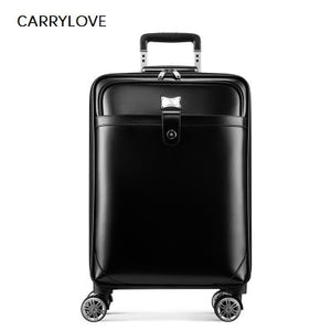 - CARRYLOVE High quality Retro luxury 16/20/22 size Cow Leather Rolling Luggage Spinner brand Travel Suitcase - guiro - Zeinab Fashion