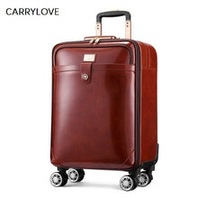 Load image into Gallery viewer,  - CARRYLOVE High quality Retro luxury 16/20/22 size Cow Leather Rolling Luggage Spinner brand Travel Suitcase - guiro - Zeinab Fashion
