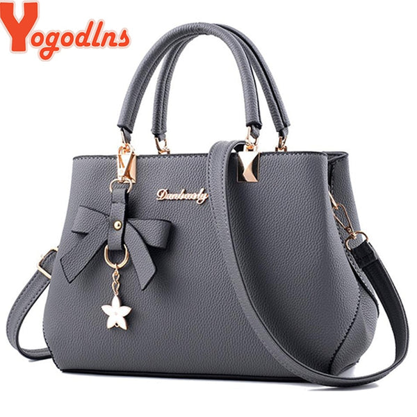 - New 2019 Elegant Shoulder Bag Women Designer Luxury Handbags Women Bags Plum Bow Sweet Messenger Crossbody Bag - guiro - Guiro