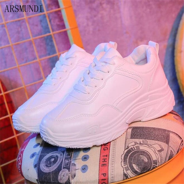 - ARSMUNDI New 2018 Spring Fashion Women Casual Shoes Leather Platform Shoes Women Sneakers White Chaussure Femme M287 - guiro - Zeinab Fashion