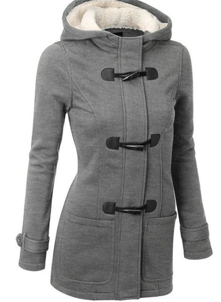Women Casual Coats Horn Buckle Long Sleeve Zipper Button Plus Size Thicken Jacket Warm Cashmere Hooded Female Outwear