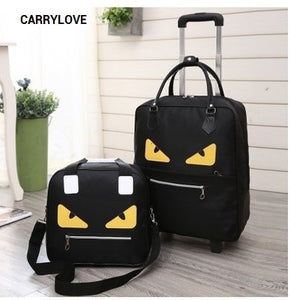 - CARRYLOVE cartoon luggage series 16/18 size  boarding handbag+Rolling Luggage Spinner brand Travel Suitcase - guiro - Zeinab Fashion