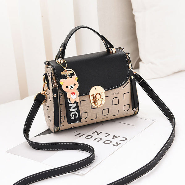- New Cute Type Ladies PU Handbag High Quality 2019 Hot Sale Small Girls Exquisite Color Matching Casual Fashion Small Square Bag - guiro - Guiro