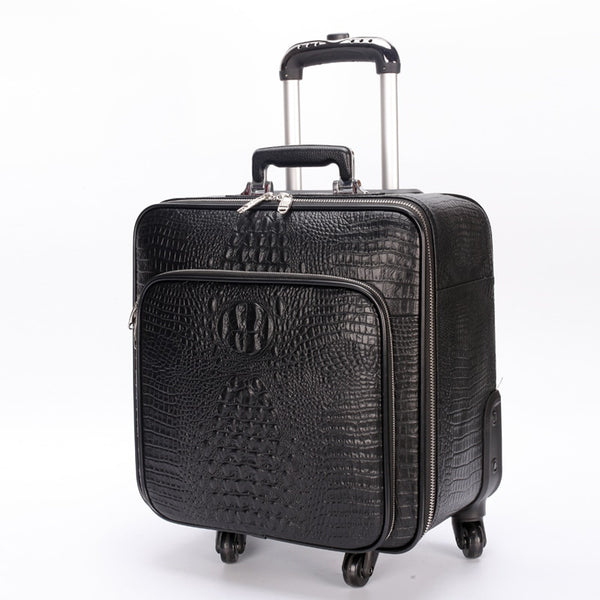 Luggage - First layer of cowhide travel bag full genuine leather commercial luggage trolley luggage suitcase - guiro - Zeinab Fashion