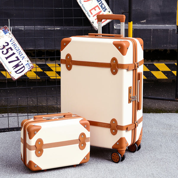"- Two piece Set of Trolley case,Password lock box,Retro suitcase,Universal wheel 24""student cute luggage,Fashion valise - guiro - Zeinab Fashion"