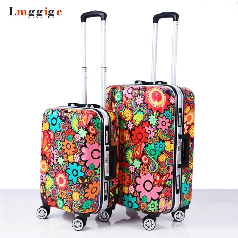 - Aluminum Frame+ABS Rolling Travel Lugagge Suitcase Bag,malas de viagem com,Trip Box,Hardside Carry On ,Women Trolley Case - guiro - Zeinab Fashion