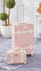 - BeaSumore Retro Pink PU Leather Rolling Luggage Set Spinner Suitcase Wheel Vintage Cabin Trolley Women's Handbag Travel Bag - guiro - Zeinab Fashion