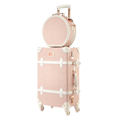 ,Vintage Rolling Luggage Set With Handbag,Women High-quality Wood +PU leahter Travel Suitcase Cosmetic Bag,Wheel Trolley Case Box,guiro,Zeinab Fashion.