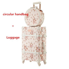 - Vintage Rolling Luggage Set With Handbag,Women High-quality Wood +PU leahter Travel Suitcase Cosmetic Bag,Wheel Trolley Case Box - guiro - Zeinab Fashion
